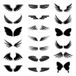 Vector set angel and bird wings, icon silhouette i...