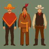 Cowboy indian and mexican