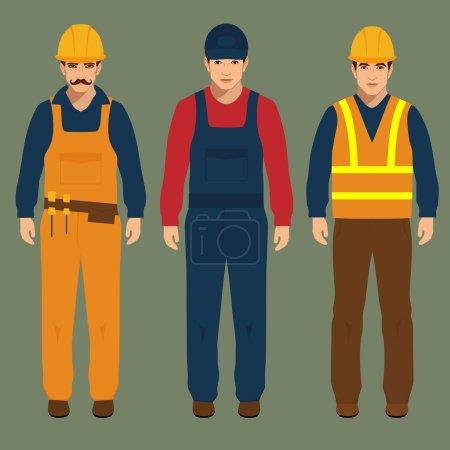 Illustration for Builder, engineer man, vector illustration, cartoon construction worker - Royalty Free Image