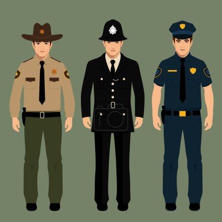 Illustration pour Policier britannique et shérif uniforme, agents de police vectoriels personnes, profession illustration vectorielle - image libre de droit