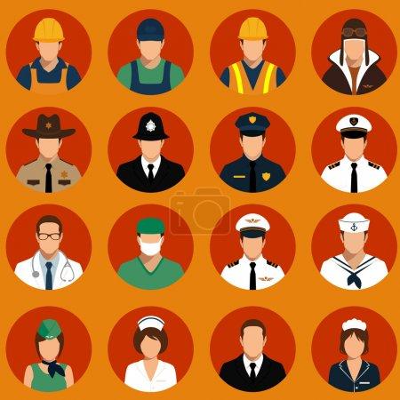 Photo pour Icônes vectorielles travailleurs, professionnels, illustrations vectorielles de dessins animés - image libre de droit