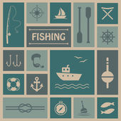 Vector fishing background fish boat set icons
