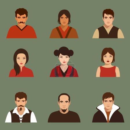 Illustration pour Vector flat people face, icône avatar, personnage de dessin animé - image libre de droit