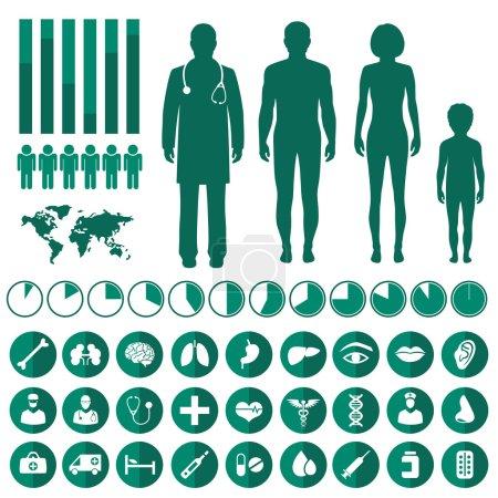 Illustration pour Infographie médicale vectorielle, anatomie du corps humain, icônes vectorielles de santé - image libre de droit