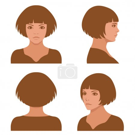 Vector girl hairstyles , full face and profile hea...