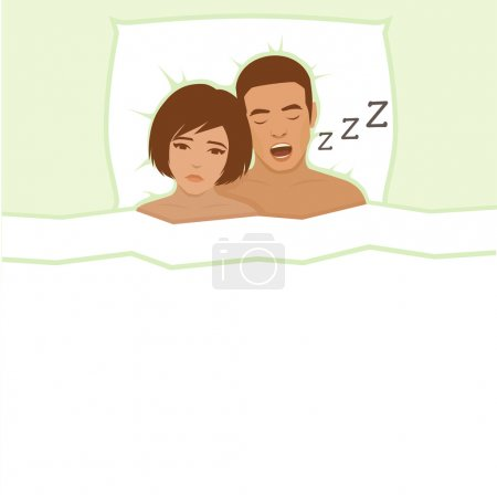Illustration for Snoring man. Couple in bed, man snoring and woman can not sleep, - Royalty Free Image