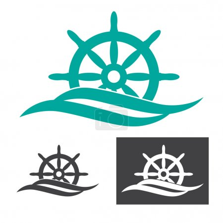 concept logo with ship rudder and waves.