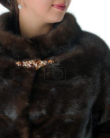 Photo pour Fragment de manteaux de fourrure vison femelle brun - image libre de droit
