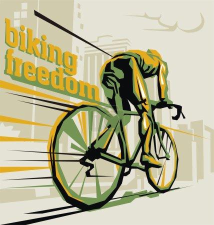 Biking illustration. Layered cycling vector.