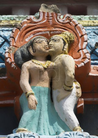 Detail of older Gopuram at Mahalingeswarar Temple, standing kiss
