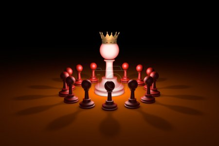 The new leader (chess metaphor). 3D rendering illustration