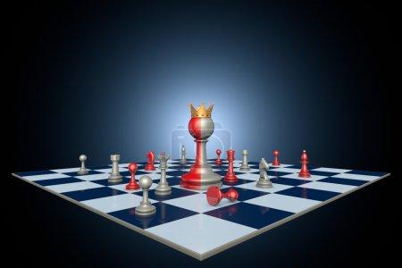 Photo pour Pièces d'échecs sur l'art sur un fond sombre. Dans le centre d'un énorme cadre bicolore un pion avec une couronne. - image libre de droit