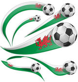 Wales flag set with soccer ball isolated