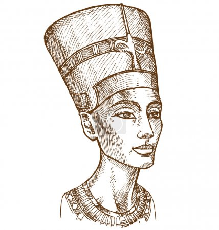 Bust of Nefertiti hand drawn...