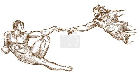Creation of Adam hand drawn on white background