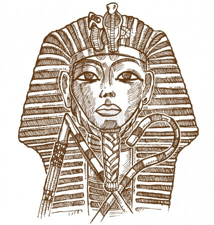 tutankhamon mask hand drawn