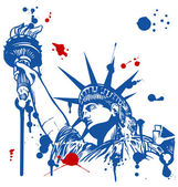 statue of liberty with torch with ink dripping