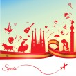 Spain travel background. Vector illustration...