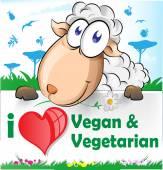 sheep cartoon with vegetarian and vegan banner