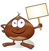 chestnut cartoon with signboard  isolated on white background