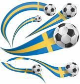 Sweden flag set with soccer bal