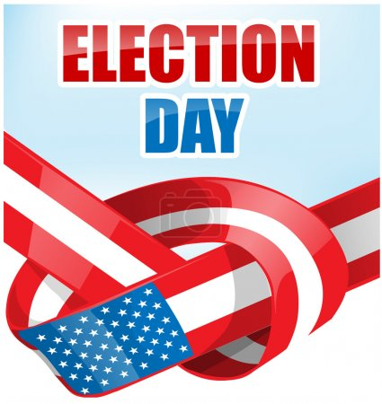 USA election day with ribbon flag