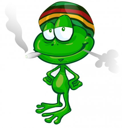 jamaican frog cartoon on white background