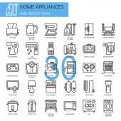 Home Appliances  thin line icons set