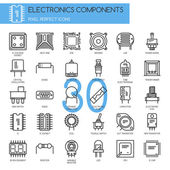 Electronic components  thin line icons set