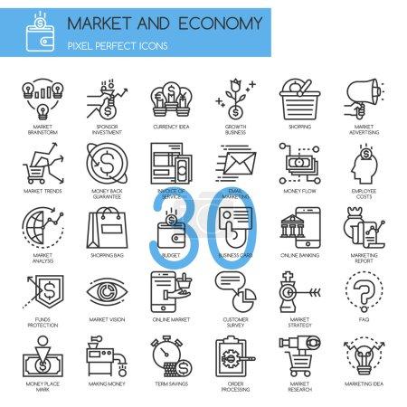Market and Economy, thin line icons set