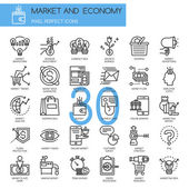 Market and Economy thin line icons set