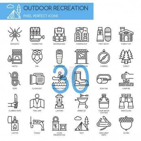 Outdoor Recreation , thin line icons set