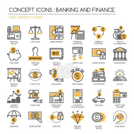 Illustration pour Banque et finance, jeu d'icônes de ligne mince, Pixel Perfect Icon - image libre de droit