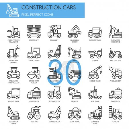 Construction Cars , thin line icons set