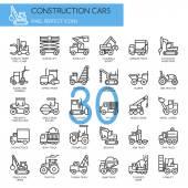 Construction Cars  thin line icons set