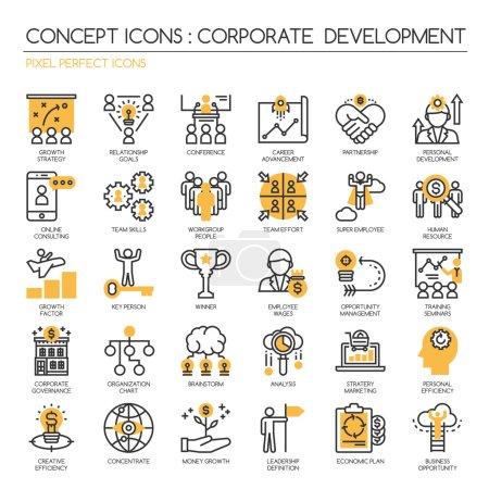 Illustration pour Développement d'entreprise, jeu d'icônes de ligne mince, Pixel Perfect Icons - image libre de droit