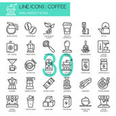 Coffee  thin line icons set pixel perfect icon