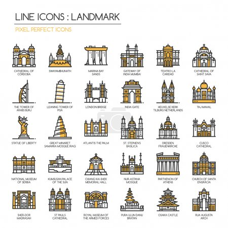 Landmark, thin line icons set ,pixel perfect icon