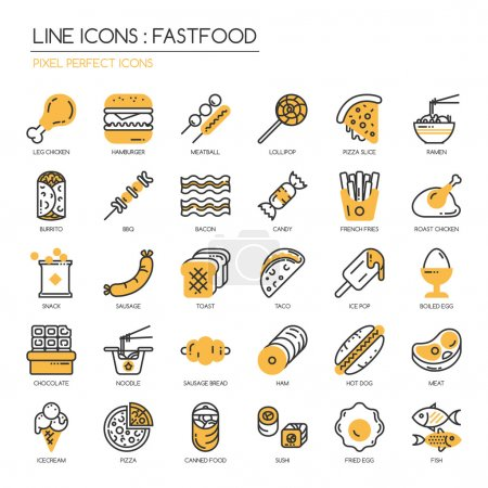 Illustration for Fastfood, thin line icons set ,pixel perfect icon - Royalty Free Image