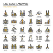 Landmark  thin line icons set pixel perfect icon