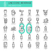 Beverage  thin line icons set pixel perfect icon