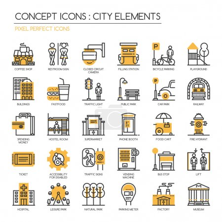 City Elements , thin line icons set , Pixel Perfect Icons