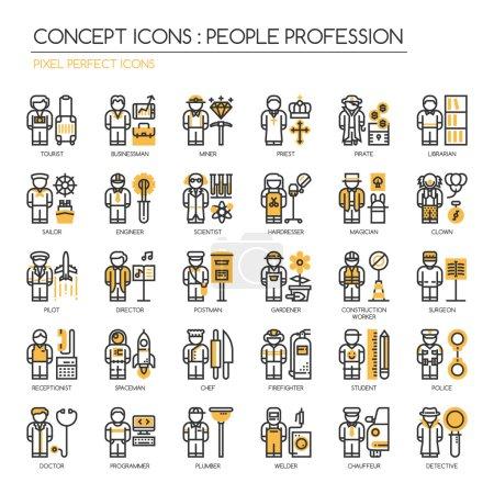 Illustration pour Gens Profession, ligne mince icônes ensemble, Pixel Perfect Icônes - image libre de droit