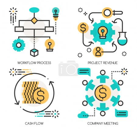 Flat line design vector illustration concepts of Workflow Proces