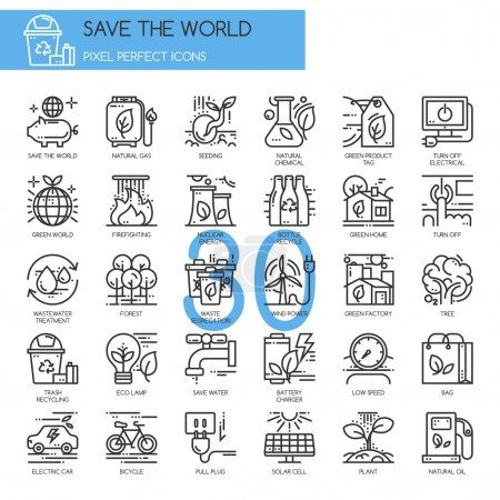 Save the world , thin line icons set , Pixel Perfe...