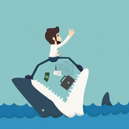 Illustration for Businessman standing on Jaws of shark , eps10 vector format - Royalty Free Image