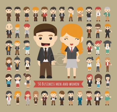 Illustration for Set of 50 business men and women , eps10 vector format - Royalty Free Image