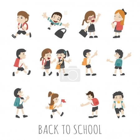 Back to school , pupils in school uniform