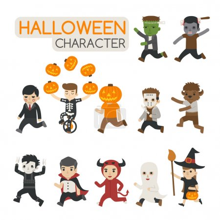 Set of halloween costume characters , trick or treat