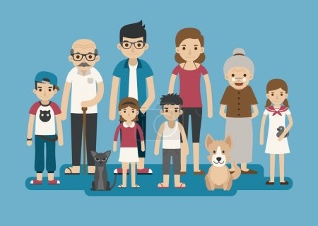 Illustration for Set of big happy family character , eps10 vector format - Royalty Free Image